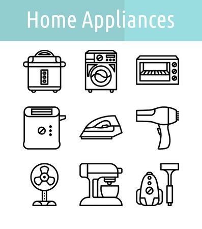 Set of home appliance  linear  icon.