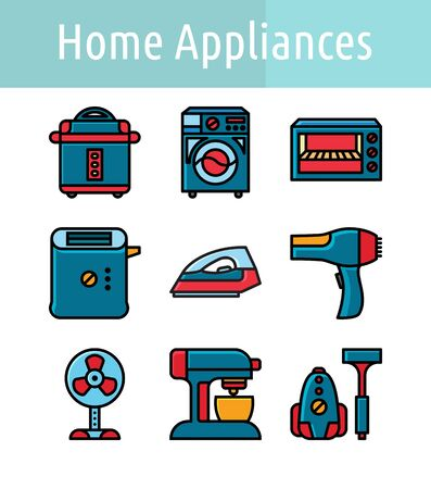 Set of home appliance  linear color icon.
