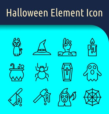 Set of halloween linear  icon.