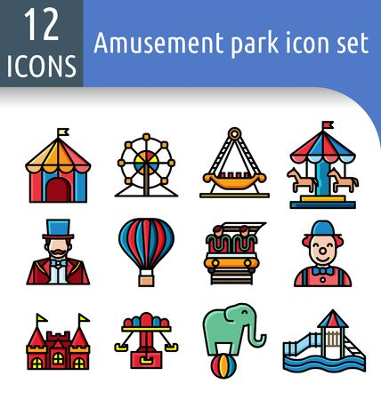 Set of amusement park color linear icon.