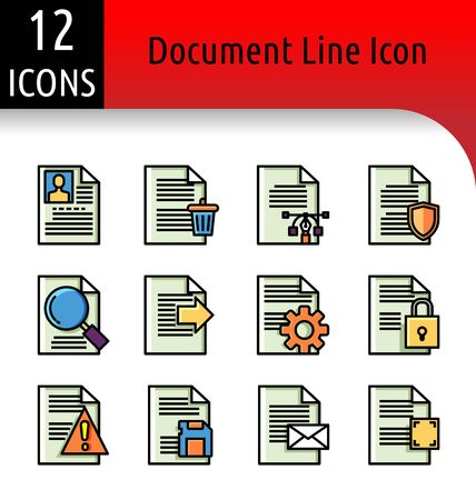 Set of document color linear icon.