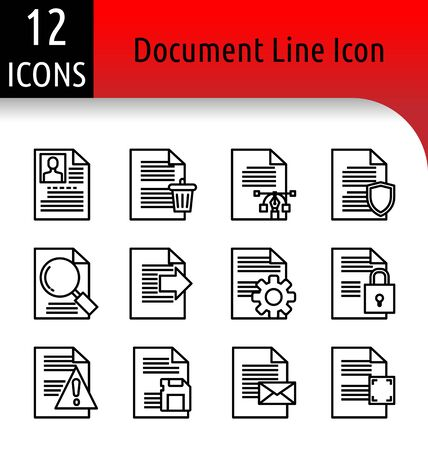 Set of document linear icon.
