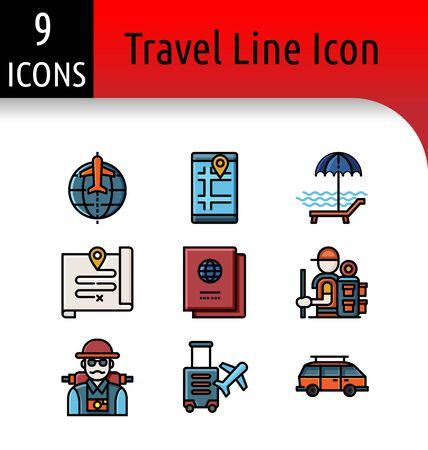 Set of travel accessory linear icon. Stock Vector - 137406334