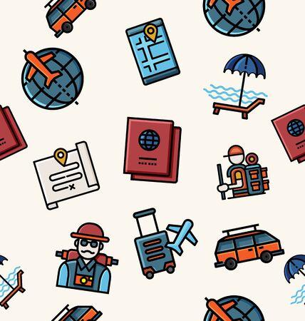Illustration of travel icon seamless pattern.