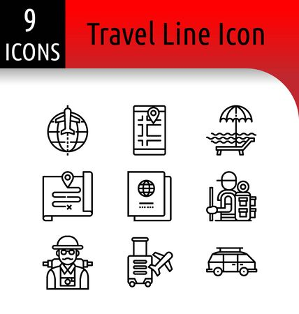 Set of travel accessory linear icon. Illustration