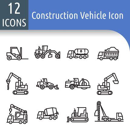 Ensemble d'icônes de contour d'équipement de construction routière avec chargeuse sur pneus, niveleuse, machine à rouleaux routiers, excavatrice, chariot élévateur, camion-grue. Vecteurs