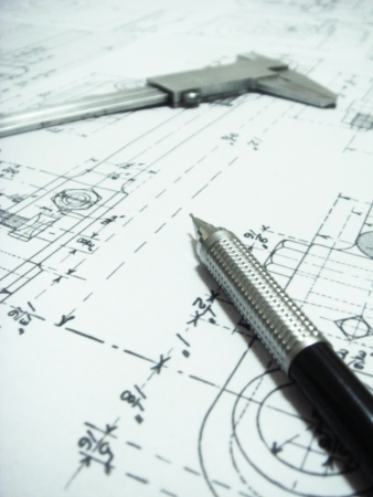 Mechanical drawing ,verniercaliper and drafting in paper Stock Photo