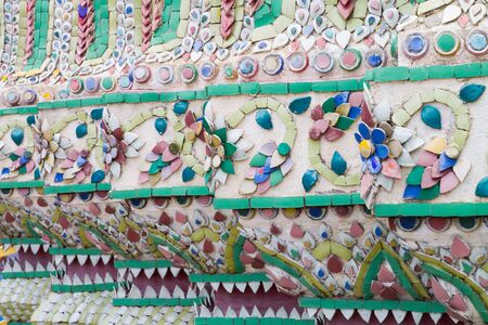 Building in Grand Palace finely decorated with mosaic tiles  Bangkok  Thailand