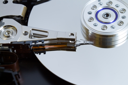 Close up of modern opened hard disk drive Stock Photo - 16465526