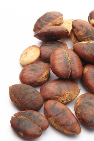 Close-up of fresh roasted seeds of krabok  Irvingia malayana