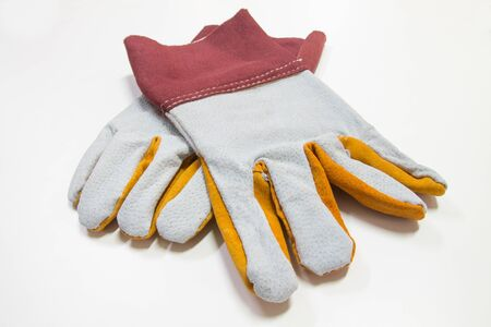 welding gloves leather  isolate on white background 스톡 콘텐츠