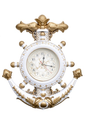 navy anchor clock isolate on white background photo