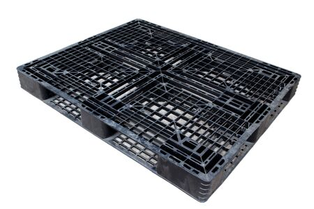 Old dirty plastic pallet black color photo