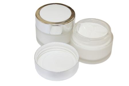Cosmetic face cream container  on white background Stock Photo