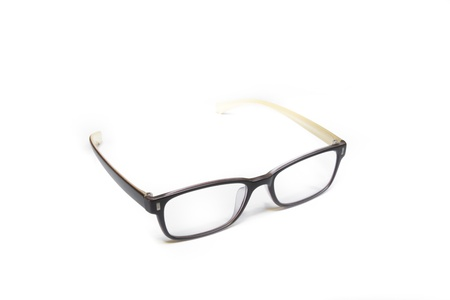 Nerd brown glasses on isolated white background, perfect reflection