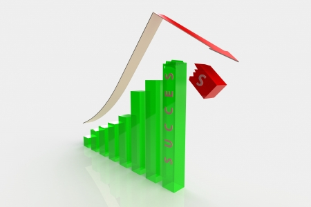 business graph success broken 3D Composition using basic materials and advanced lighting. Stock Photo - 18703863