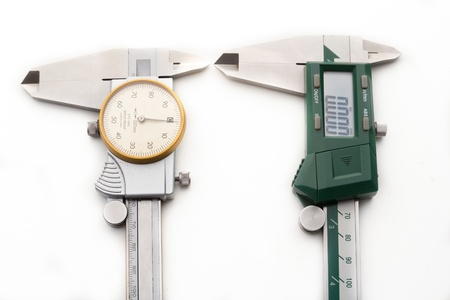 verniercaliper type digital and dial on white background