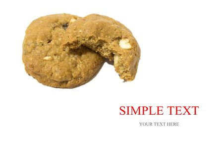upperdeck view: pile of chocolate chip cookies isolated on a white background Stock Photo
