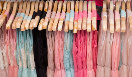 Clothes in hangers for background