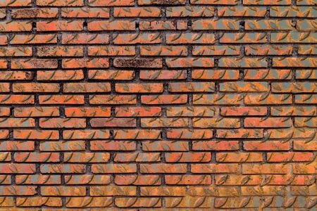 checker plate: red brick wall mix with old checker plate