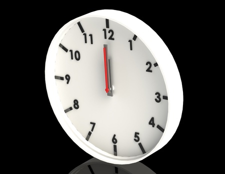 12 o'clock: white clock on black background