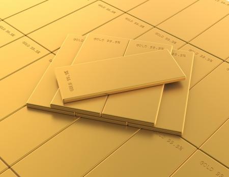 many Gold bars on white background photo