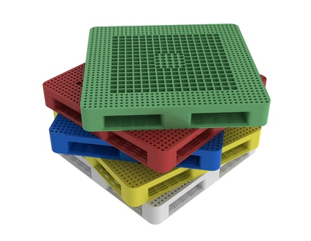 plastic pallet multi-color on white background photo
