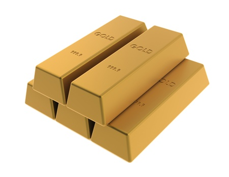 many Gold bars on white background photo