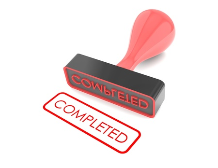 text ' Completed ' rubber stamp on white background photo
