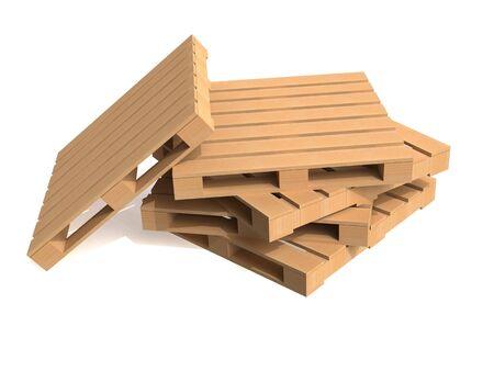 Palete de transporte de madeira no fundo branco