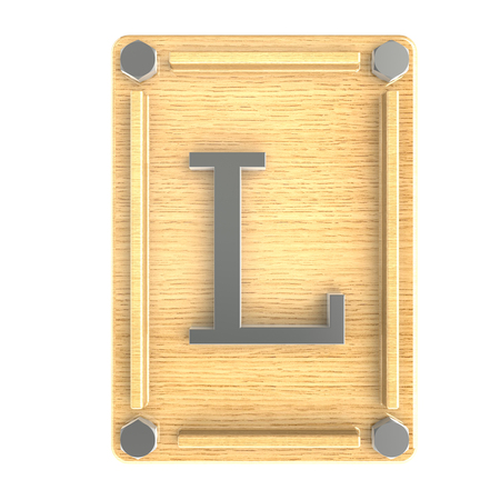l plate: Alphabe  L  stainless on wood oak plate Stock Photo