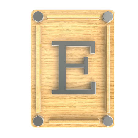 Alphabe  E  stainless on wood oak plate photo