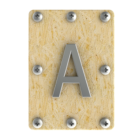 osb: Alphabe  A  stainless on wood Oriented Strand Board (OSB)  plate