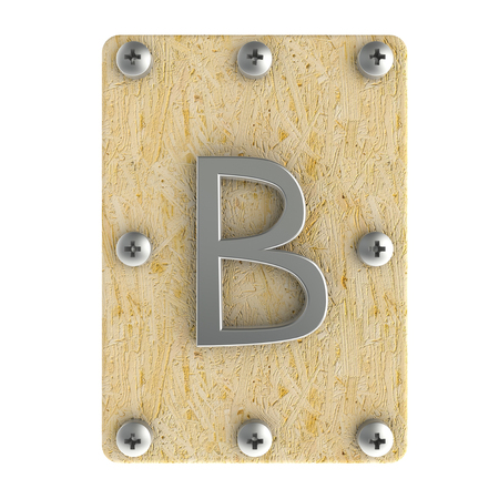 Alphabe  B  stainless on wood Oriented Strand Board (OSB)  plate