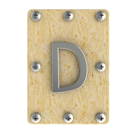 osb: Alphabe  D  stainless on wood Oriented Strand Board (OSB)  plate