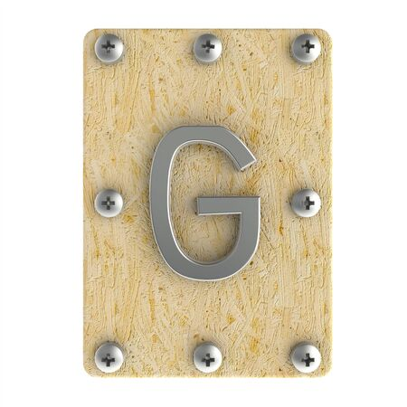 Alphabe  G  stainless on wood Oriented Strand Board (OSB)  plate