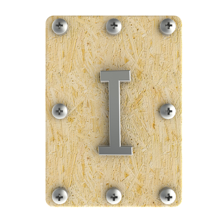 osb: Alphabe  I  stainless on wood Oriented Strand Board (OSB)  plate