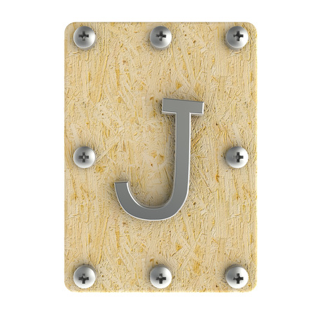 oriented: Alphabe  J  stainless on wood Oriented Strand Board (OSB)  plate