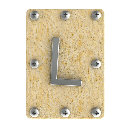 Alphabe  L  stainless on wood Oriented Strand Board (OSB)  plate Stock Photo