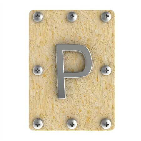 osb: Alphabe  P  stainless on wood Oriented Strand Board (OSB)  plate