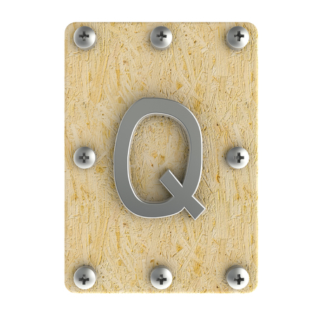 osb: Alphabe  Q  stainless on wood Oriented Strand Board (OSB)  plate Stock Photo