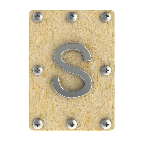 osb: Alphabe  S  stainless on wood Oriented Strand Board (OSB)  plate