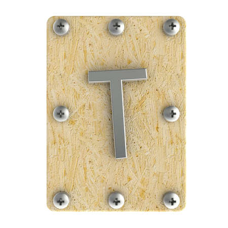 osb: Alphabe  T  stainless on wood Oriented Strand Board (OSB)  plate