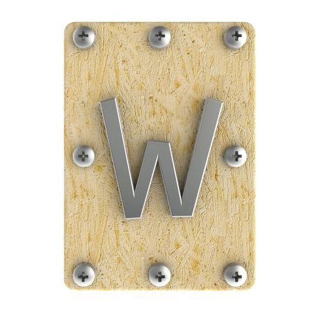 osb: Alphabe  W  stainless on wood Oriented Strand Board (OSB)  plate Stock Photo