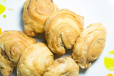 curry puff on white dish Stock Photo
