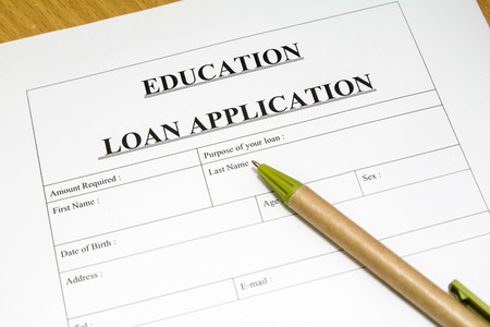 education loan: Directly above photograph of a education loan application.