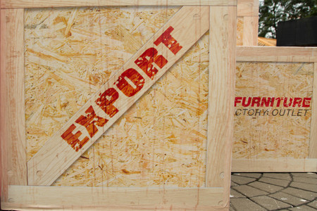 large wooden box with  Export  stamp photo