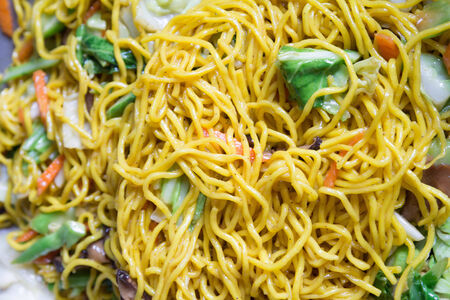 Delicious Stir-fried rice noodles colorful appetizing photo