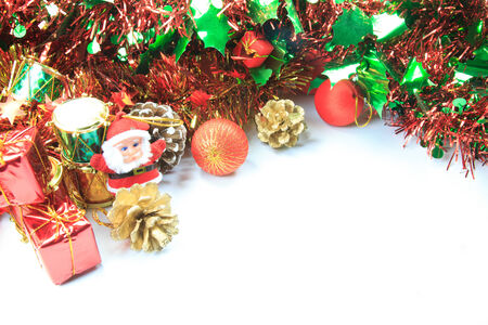 Christmas background with santa doll , gift box and ball xmas Stock Photo - 23565645
