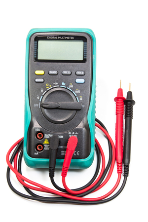 digital multimeter for determining electrical current and test circuit. Stock Photo